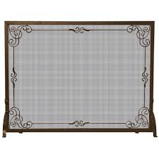 uniflame bronze single panel fireplace screen with decorative