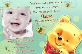 Free First Birthday Invitation Cards Winnie The Pooh Invitations For 1st Birthday Iidaemilia Com
