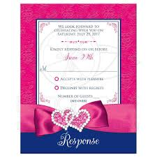 Wedding Invitation Insert Cards Wedding Response Card Printed Ribbon Double Hearts Royal Blue