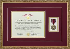 auburn diploma frame meritorious service medal custom framed with award document framed