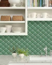 Cream Cabinets Brass Hardware Green Arabesque Tile Backsplash - Green kitchen tile backsplash