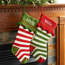 personalized striped knit christmas stocking available in multiple