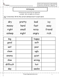 Free Printable Worksheets For 3rd Grade Math Synonyms And Antonyms Worksheets Antonyms 3rd Grade