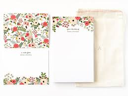 personalized stationery set personalized stationery set illustrated floral stationery