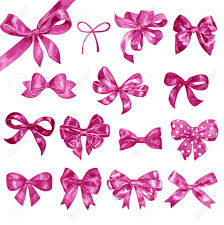 bows and ribbons set of watercolor pink bows ribbons and buttons stock