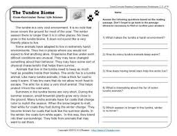 the tundra biome 3rd grade reading comprehension worksheet