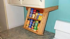 kitchen under cabinet storage fold down spice rack