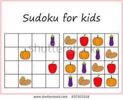 sudoku kids game preschool kids training stock vector 618432524