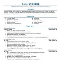 Dishwasher Skills For Resume Best Birthday Party Host Resume Example Livecareer