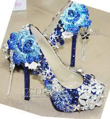 Wedding Shoes Blue Luxury Handmade Customized Royal Blue Rhinestone Wedding Shoes