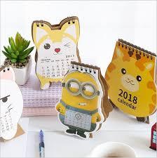 minion desk calendar 2017 new year 2018 cartoon cat giraffe minions dog desktop mini table