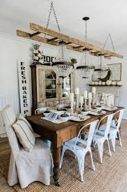 rustic homemade farm style dining room table with benches barn