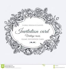 Black And White Invitation Cards Vector Floral Frame With Roses In Vintage Style Invitation Card