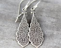 silver earrings etsy