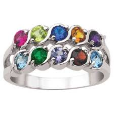 7 mothers ring s row simulated birthstone family ring in sterling