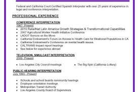 Interpreter Resume Samples by Spanish Speaking Resume Reentrycorps