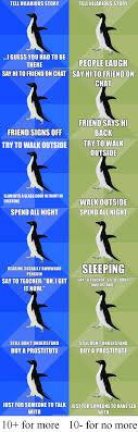 Meme Socially Awkward Penguin - socially awkward to average penguin comp