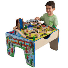 kidkraft rapid waterfall train set u0026 table with 48 accessories