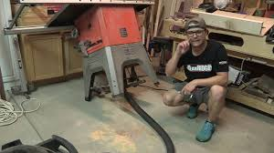 table saw vacuum dust collector ridgid table saw dust collection youtube