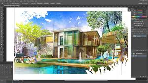 digital watercolor painted in photoshop sketchup 3d rendering