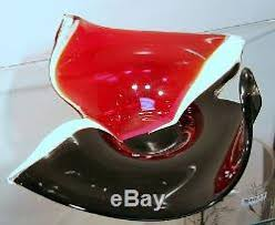 Red Glass Vases And Bowls 13 Hand Blown Glass Art Vase Bowl Sculpture Red White Black Decorative