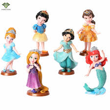 6pcs Anime Cartoon Princess Snow White Cinderella Ariel Belle Pvc