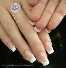 luminous nails french nails with baby pink glitter underneath