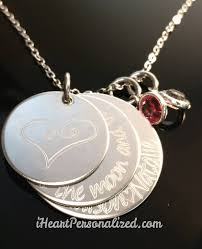 photo engraved necklace personalized engraved 3 discs necklace iheartpersonalized