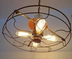 1930s Chandelier by Industrial Vintage Fan Chandelier With Edison Filament Bulbs Id