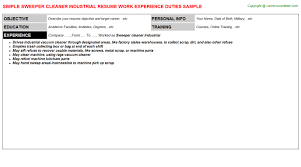 sweeper cleaner industrial job title docs