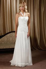 generous halter neckline backless chiffon summer wedding dress