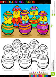cartoon in easter eggs coloring page royalty free stock