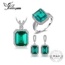 sterling silver rings necklace images Jewelrypalace classic created emerald jewelry set 925 sterling jpg