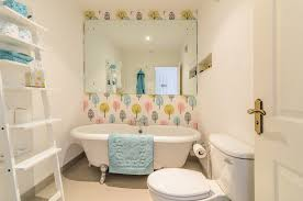 feature wall bathroom ideas leaning shelves in bathroom contemporary with tree wallpaper