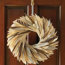 turkey feather wreath corn husks wreath