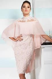 light pink knee length dress 2017 high neck sheath knee length cocktail dresses with cape