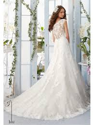 mori lee 5410 a line lace over the shoulder ivory