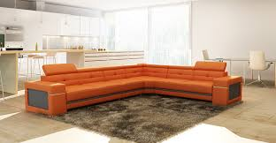 Orange Leather Sectional Sofa Casa 5072 Modern Orange And Grey Leather Sectional Sofa