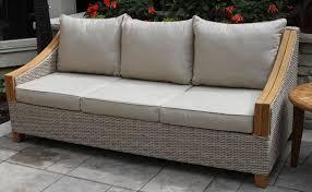 wicker u0026 natural teak sofa with sunbrella cushions u0026 pillows