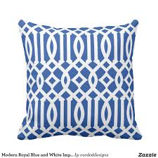 modern royal blue and white imperial trellis outdoor pillow