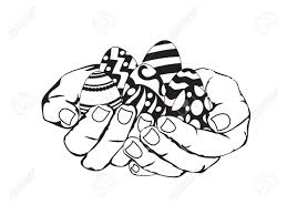 sketch of hands holding easter eggs royalty free cliparts vectors