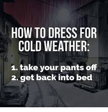 Funny Cold Weather Memes - how to dress for cold weather 1 take your pants off 2 get back