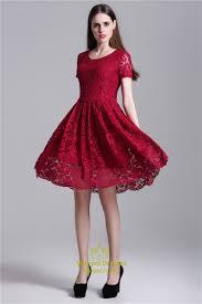 casual dress burgundy simple sleeve a line knee length lace overlay