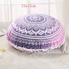 Pink Round Cushion Indian Ottoman Large Floor Pillows Ombre Mandala Tapestry Round