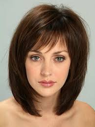 medium length layered bob haircuts with bangs shoulder length