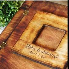 rustic wedding photo album rustic wooden album w personalized engraving leather spine