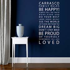 personalised family rules wall sticker by parkins interiors shown in white