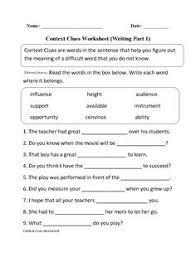 context clues worksheet writing part 2 advanced englishlinx com
