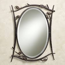 Metal Framed Bathroom Mirrors by Breathtaking Leafs Patterns Iron Oval Wall Mirrors Frames Hang On