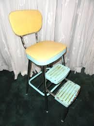 Yellow Retro Kitchen Chairs - vintage utility step stool aqua yellow metal 1950s retro kitchen